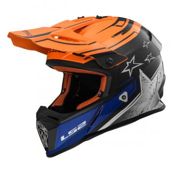 LS2 Crosshelm MX437 matt schwarz-orange-blau
